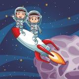 O astronauta caçoa desenhos animados Imagem de Stock Royalty Free