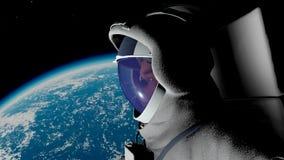 O astronauta contra a terra Fotos de Stock Royalty Free