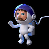 o astronauta 3d flutua no espaço Fotos de Stock Royalty Free