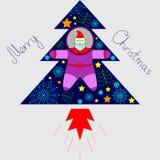 O astronauta de Santa está voando em uma árvore do foguete com árvores, estrelas ilustração stock