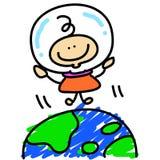 O astronauta do menino dos desenhos animados explora o espaço Fotografia de Stock Royalty Free