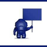 O astronauta está com placa em sua mão Imagem de Stock