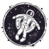 O astronauta flutua no espaço em um círculo inflável Ilustração do vetor em um tema da astronomia Emblema redondo ilustração stock