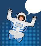 O astronauta medita em um estilo do pop art Bolha para o texto ZEN e ilustração do vetor
