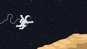 O astronauta que salta no asteroide Imagens de Stock Royalty Free