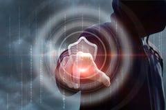 O atacante tenta quebrar em um sistema seguro imagens de stock royalty free