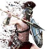 O ataque espartano, ilustração de um guerreiro espartano no vestido de batalha que ataca em um fundo branco com chapinha o efeito Fotos de Stock Royalty Free