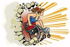 O atleta caucasiano da mulher em uma cadeira de rodas perfura a parede ilustração do vetor