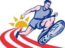 O atleta da maratona ostenta o corredor ilustração royalty free