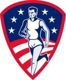 O atleta da maratona ostenta o corredor ilustração do vetor