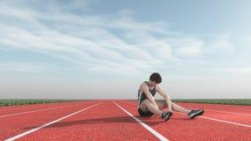 O atleta derrotou a pista de decolagem Fotografia de Stock
