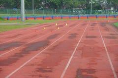 O atletismo artificial com grama verde combinou com a grama artificial foto de stock
