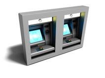 O ATM duplo moderno incluiu para transferência de dinheiro eletrônico 3d rende ilustração stock