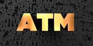O Atm - texto do ouro no fundo preto - 3D rendeu a imagem conservada em estoque livre dos direitos Fotografia de Stock Royalty Free