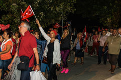 30o August Turkish Victory Day Parade na noite Imagem de Stock
