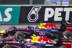 Mark Webber abaixo do cano principal em linha reta Imagens de Stock Royalty Free