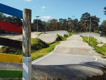 O autódromo de BMX do circuito Zolder, anfitrião dos campeonatos mundiais de UCI BMX e do copo da UE fotografia de stock royalty free