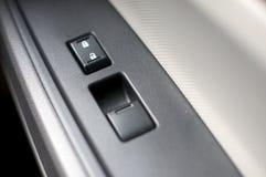 O automóvel, automóvel, botão, carro, controle, projeto, detalhe, dispositivo, porta, equipamento, cinza, segura, dentro de, inter fotos de stock royalty free