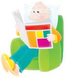 O avô lê um jornal ilustração stock