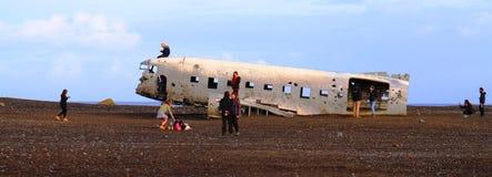O avião arruina-se, Islândia foto de stock