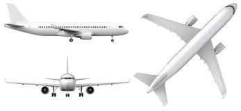 O avião branco altamente detalhado, 3d rende em um fundo branco Avião no perfil, da vista dianteira e superior isolado Fotografia de Stock Royalty Free