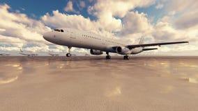 O avião comercial decola em um dia ensolarado contra o fundo rendição 3d ilustração royalty free