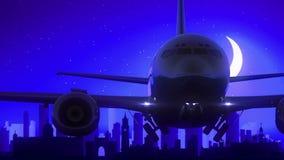 O avião da Índia de Mumbai Bombaim decola o curso azul da skyline da noite da lua ilustração royalty free