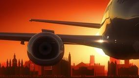 O avião de Cambridge Inglaterra Reino Unido decola o fundo dourado da skyline ilustração stock