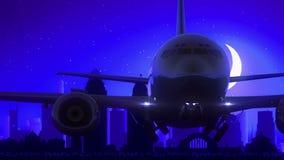 O avião de Cincinnati Ohio EUA América decola o curso azul da skyline da noite da lua ilustração royalty free
