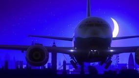 O avião de Londres Inglaterra Reino Unido decola o curso azul da skyline da noite da lua