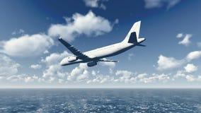 O avião de passageiros voa sobre o oceano 5 ilustração stock
