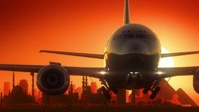 O avião do Cairo Egito decola o fundo dourado da skyline ilustração do vetor