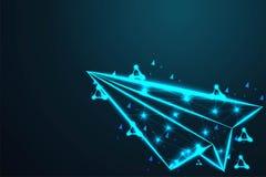o avião do avião de papel, malha poli do fio do sumário baixa, poligonal do quadro do fio olha como a constelação em escuro - céu ilustração do vetor