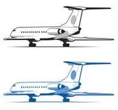O avião está aterrando e decolagem, a engrenagem Curso e transporte Ícone plano no estilo monocromático airlines Isolado no branc Fotos de Stock