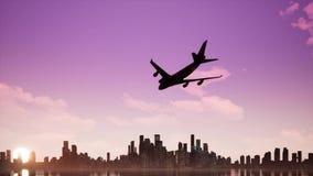 O avião está aterrando video estoque