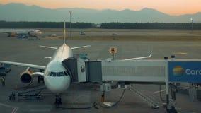 O avião está estando em um terminal pronto para embarcar video estoque