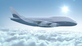 O avião voa acima das nuvens ilustração stock