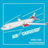 O avião voa no céu ilustração do vetor