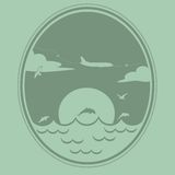 O avião voa sobre o mar Fotografia de Stock