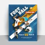 O aviador ou a bandeira do campeonato do mundo do futebol projetam com detalhes do fósforo ilustração stock