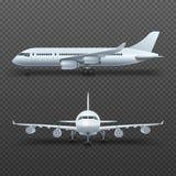 O avião realístico do detalhe 3d, jato comercial isolou a ilustração do vetor Fotos de Stock Royalty Free