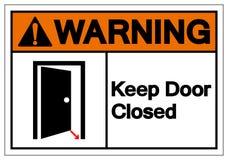 O aviso mantém o sinal fechado do símbolo da porta, ilustração do vetor, isolada na etiqueta branca do fundo EPS10 ilustração stock