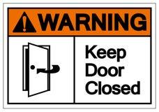 O aviso mantém o sinal fechado do símbolo da porta, ilustração do vetor, isolado na etiqueta branca do fundo EPS10 ilustração stock