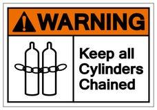 O aviso mantém todo o sinal acorrentado os cilindros do símbolo, ilustração do vetor, isolado na etiqueta branca do fundo EPS10 ilustração royalty free