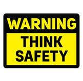 O aviso pensa o sinal de aviso da segurança ilustração royalty free