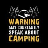 O aviso pode constantemente falar sobre o acampamento ilustração royalty free