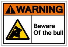 O aviso tem cuidado com o sinal do símbolo de Bull, ilustração do vetor, isolado na etiqueta branca do fundo EPS10 ilustração royalty free