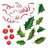 O azevinho do Natal do vetor sae, bagas, grupo da fita Fotografia de Stock Royalty Free