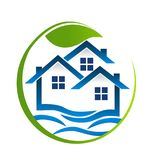O azul abriga a comunidade com folha da natureza, vetor do logotipo dos bens imobiliários ilustração do vetor