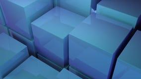 O azul abstrato cuba o fundo 3d rende Imagens de Stock Royalty Free